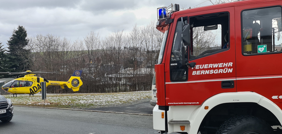 17.03.2021 – Alarmierung Hubschrauberlandung Feuerwehr Bernsgrün